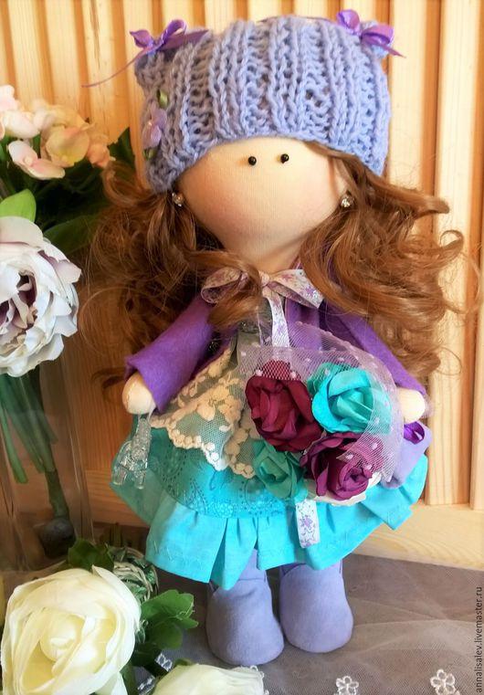 Куклы тыквоголовки ручной работы. Ярмарка Мастеров - ручная работа. Купить Кукла Ариша интерьерная текстильная. Handmade. Сиреневый, подарок