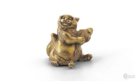 Статуэтки ручной работы. Ярмарка Мастеров - ручная работа. Купить Кот с рыбкой. Handmade. Кот, кошка, скульптура, скульптура из бронзы