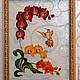 Картины цветов ручной работы. Ярмарка Мастеров - ручная работа. Купить витраж (роспись) Орхидея. Handmade. Орхидея, панно на стекле