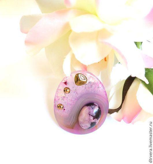 """Кольца ручной работы. Ярмарка Мастеров - ручная работа. Купить Кольцо """"Море на закате"""", агат, яшма.. Handmade. Розовый"""
