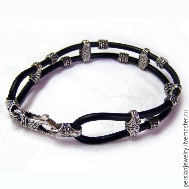 Lace bracelet: Bracelet rubber with silver accents, Cord bracelet, Sevastopol,  Фото №1