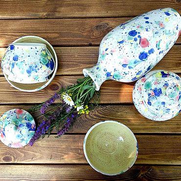 Посуда ручной работы. Ярмарка Мастеров - ручная работа Радостный сервиз, набор посуды ручной работы. Handmade.