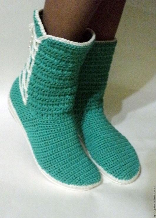 Обувь ручной работы. Ярмарка Мастеров - ручная работа. Купить Вязаные сапожки...Дуэт (2). Handmade. Комбинированный, сапожки крючком