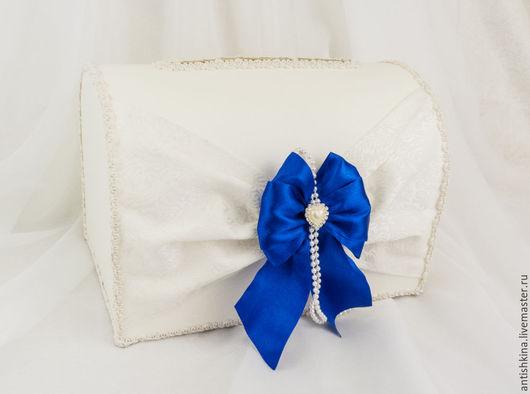 """Свадебные аксессуары ручной работы. Ярмарка Мастеров - ручная работа. Купить Сундучок """"Сливочный зефир"""" в синем. Handmade. Тёмно-синий"""