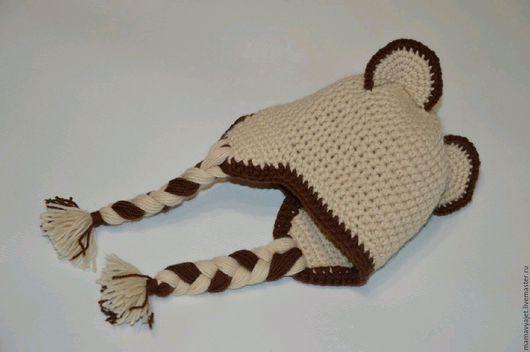 Для новорожденных, ручной работы. Ярмарка Мастеров - ручная работа. Купить Вязаная шапочка с ушками для новорожденных, шапочка мишка унисекс. Handmade.