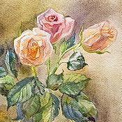 Картины ручной работы. Ярмарка Мастеров - ручная работа Розы чайные. Акварель. Handmade.