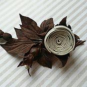 Украшения handmade. Livemaster - original item Brooch Boutonniere Sprig of rose milk chocolate. Handmade.