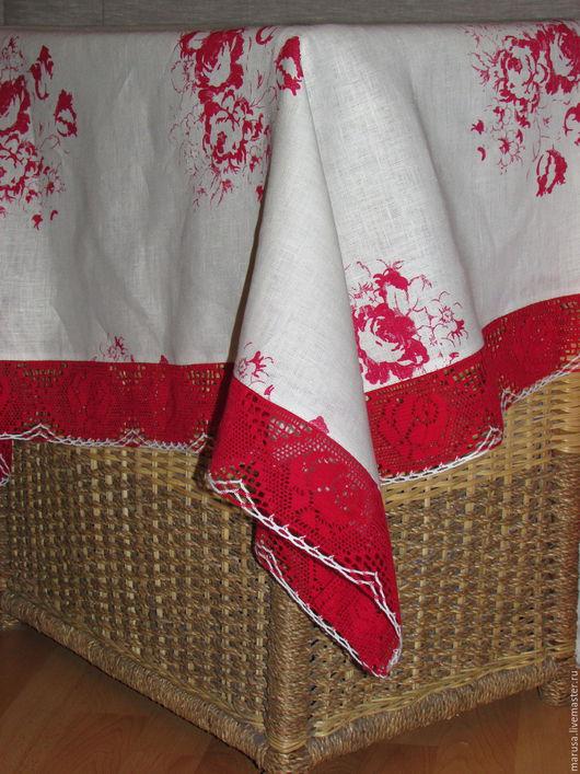 Текстиль, ковры ручной работы. Ярмарка Мастеров - ручная работа. Купить Льняная скатерть с розами.. Handmade. Скатерть, скатерть на стол