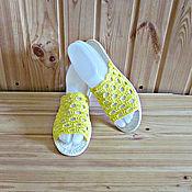 Обувь ручной работы. Ярмарка Мастеров - ручная работа Вязаная обувь...Шлёпанцы...Lemon. Handmade.