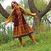Одежда ручной работы. Ярмарка Мастеров - ручная работа Теплое платье-сарафан с брошью. Handmade.