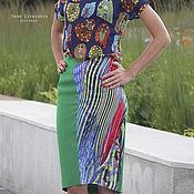 Одежда ручной работы. Ярмарка Мастеров - ручная работа SALE! -80% Юбка миди со вставкой зеленая. Handmade.