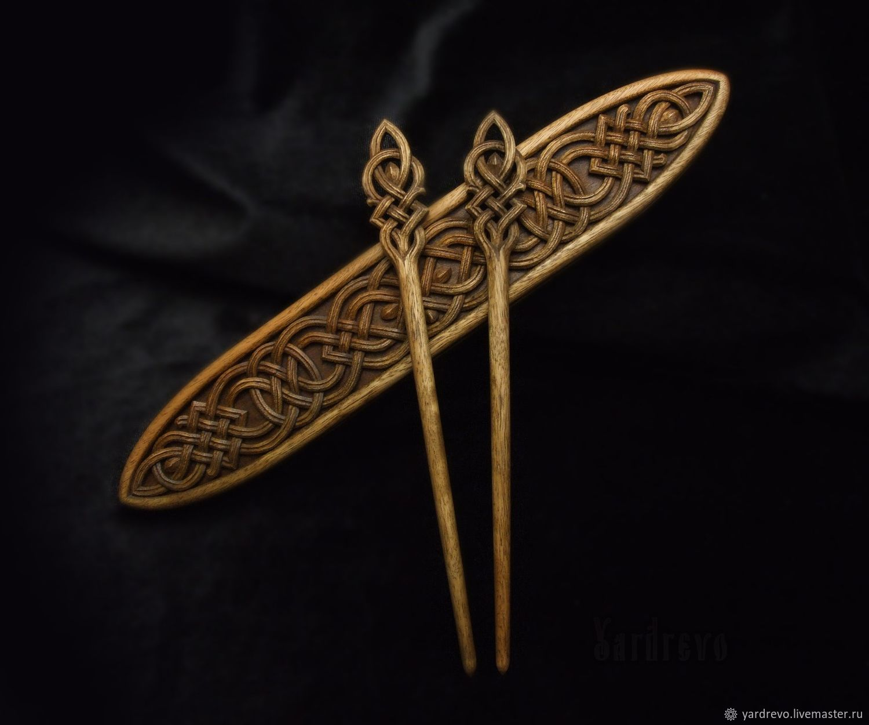 """Заколки ручной работы. Ярмарка Мастеров - ручная работа. Купить Шпильки из дерева резные эльфийские """" Galadhrim Arrows"""" в футляре. Handmade."""