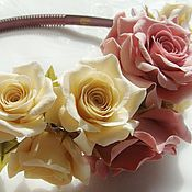 """Украшения ручной работы. Ярмарка Мастеров - ручная работа Ободок с розами """"Naturelle"""". Handmade."""
