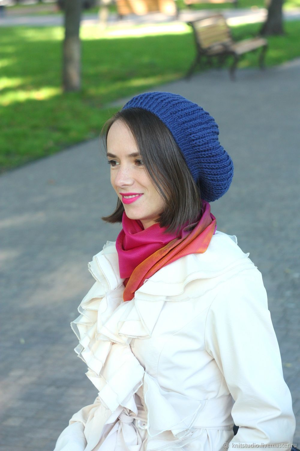 54b94447e3083 Sweater Jackets   Sweaters handmade. Livemaster - handmade. Buy Blue  knitted beret.