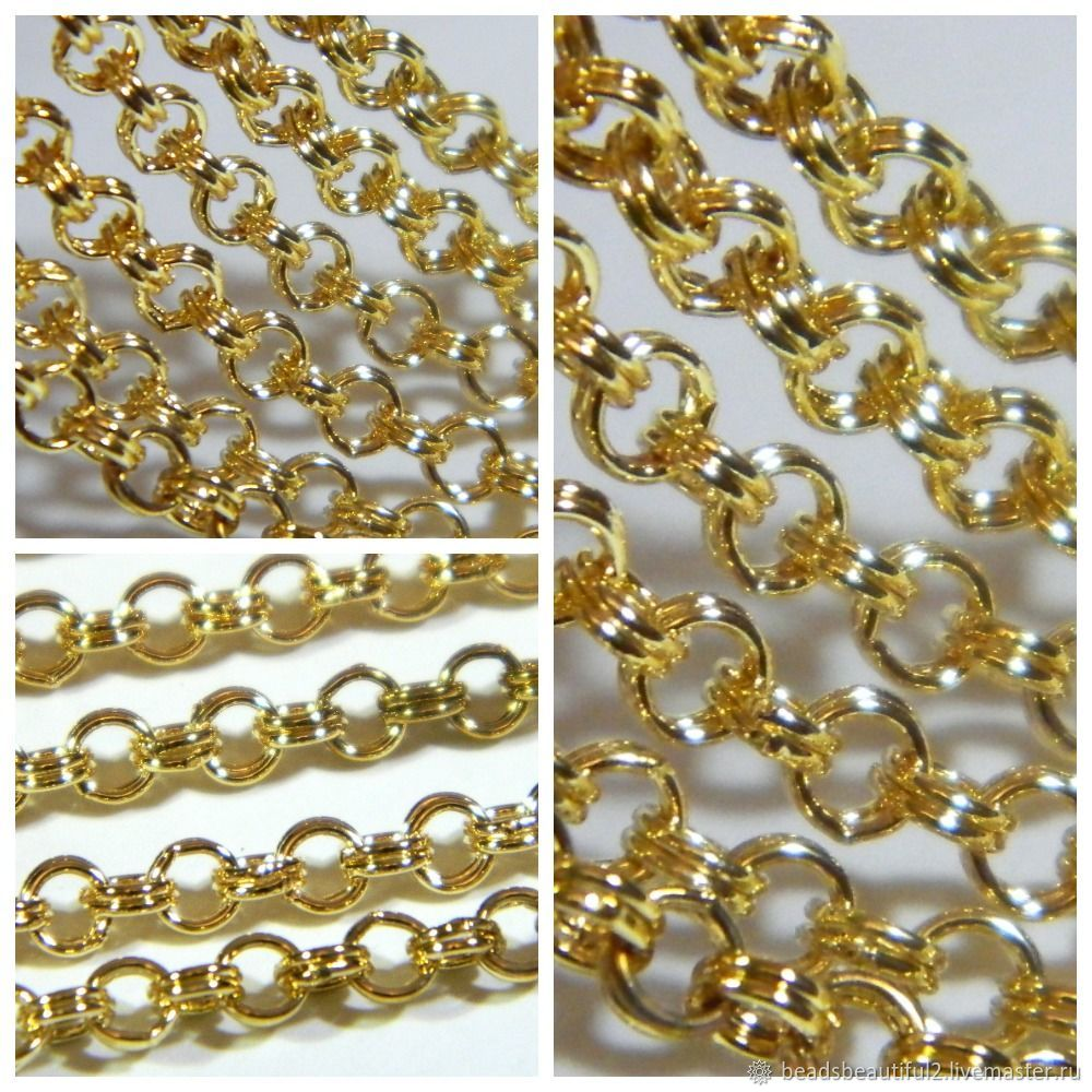 Rolo chain 4 mm color gold rhodium YuKorea, (H05). meter, Chains, Saratov,  Фото №1