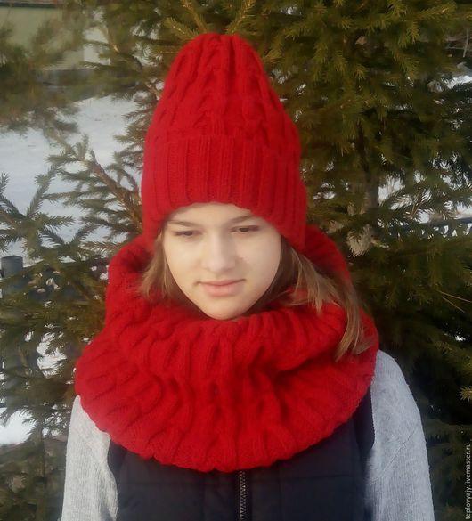 Шапки ручной работы. Ярмарка Мастеров - ручная работа. Купить Вязаная шапка ручной работы и вязаный шарф, снуд ручной работы,. Handmade.