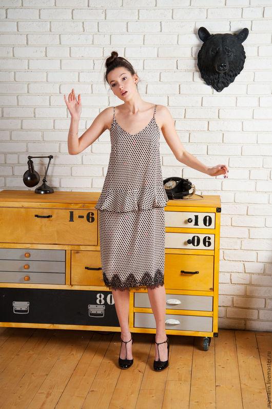 Платья ручной работы. Ярмарка Мастеров - ручная работа. Купить Шелковое платье. Handmade. Бежевый, Коктейльное платье, на заказ