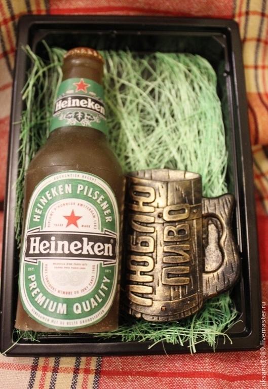 """Мыло ручной работы. Ярмарка Мастеров - ручная работа. Купить Набор мыла """"Люблю пиво"""" мини. Handmade. пивной, бутылка"""