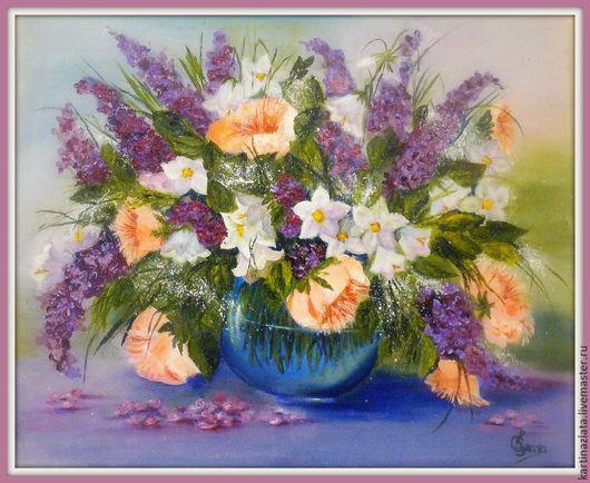 Нежность в сиреневом цвете. Картина написана маслом.