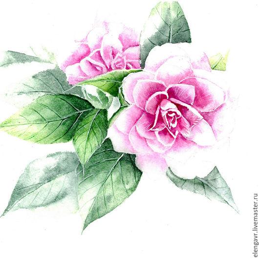 Иллюстрации ручной работы. Ярмарка Мастеров - ручная работа. Купить Иллюстрация цветов. Handmade. Комбинированный, цветы, рисунок на заказ, Скрапбукинг