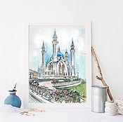 Картины и панно ручной работы. Ярмарка Мастеров - ручная работа Картина акварелью  Мечеть Кул-Шариф. Handmade.