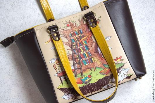 Кожаная сумка женская. Сумка с принтом