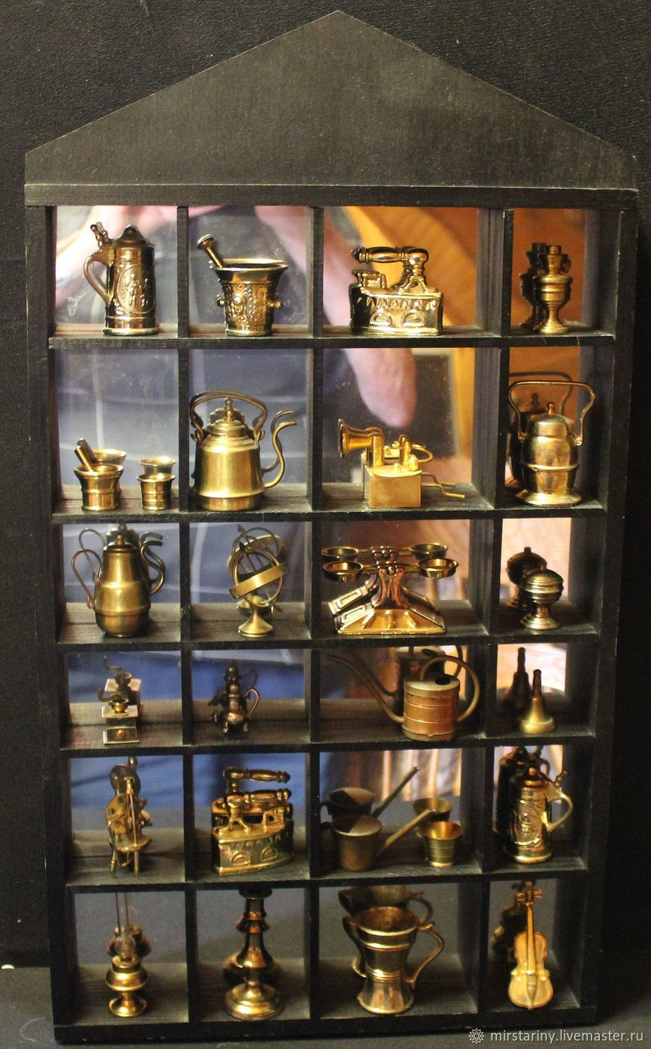 Collection of vintage, brass miniatures with showcase, Herm, Vintage interior, Moscow,  Фото №1