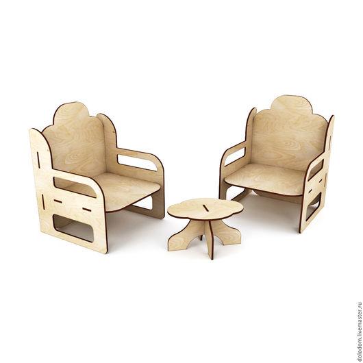 Куклы и игрушки ручной работы. Ярмарка Мастеров - ручная работа. Купить КМ-30-0104 Набор 2 кресла и журнальный столик. Handmade.