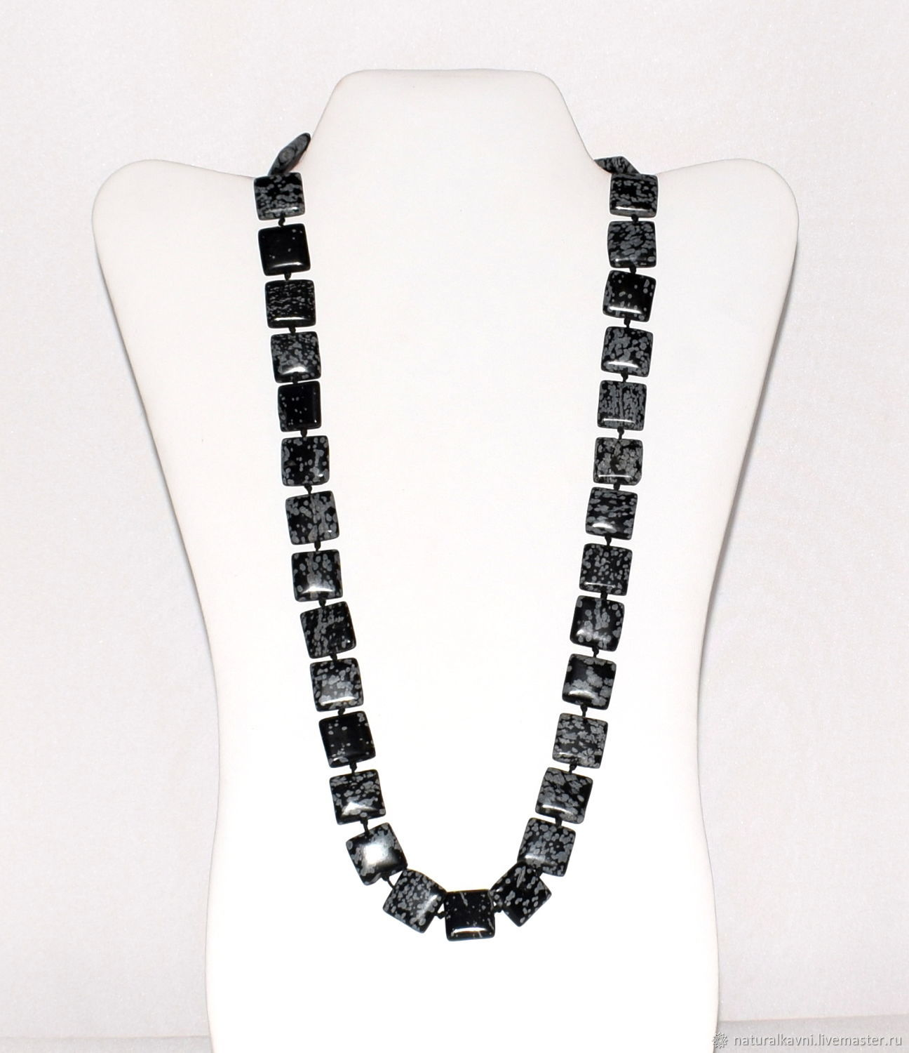 Beads from natural snow obsidian (m), Necklace, Moscow, Фото №1