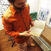 Одежда ручной работы. Ярмарка Мастеров - ручная работа Мужская рубашка рыжая S, M. Handmade.