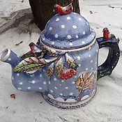 """Подарки к праздникам ручной работы. Ярмарка Мастеров - ручная работа Подарок на рождество. Чайник """"Снег. Снегири. Рябина"""".. Handmade."""