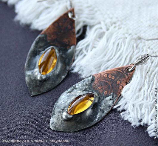 Серьги ручной работы. Ярмарка Мастеров - ручная работа. Купить Серьги медные с оловом и стеклом-2. Handmade. Желтый