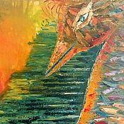 """Картины и панно ручной работы. Ярмарка Мастеров - ручная работа Картина маслом """"Дневной полет к земле"""", авторская. картина. абстракция. Handmade."""