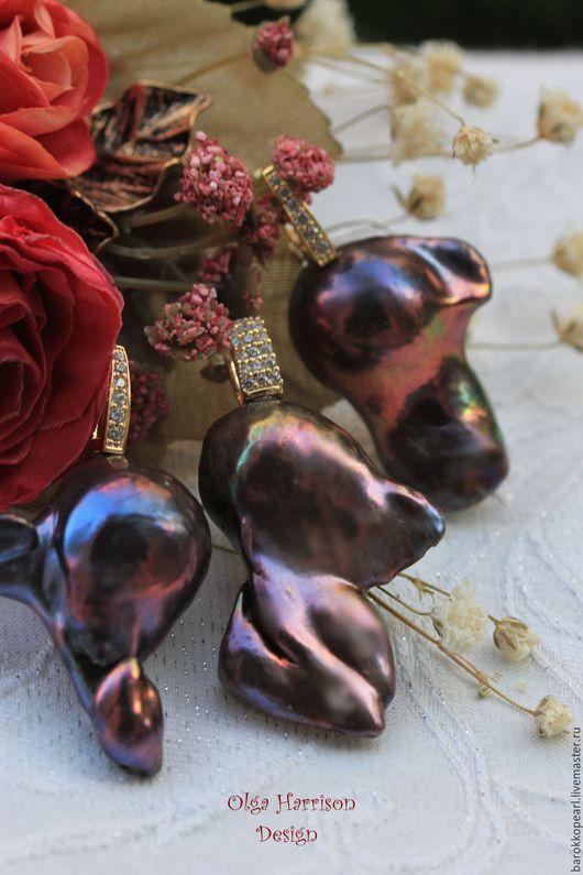 """Комплекты украшений ручной работы. Ярмарка Мастеров - ручная работа. Купить """"Бордовые цветы"""". Позолоченный комплект.. Handmade. Бордовый"""