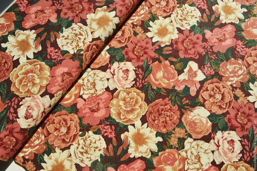 """Шитье ручной работы. Ярмарка Мастеров - ручная работа. Купить Хлопок ткань для пэчворка """"Вечерние цветы"""". Корея. Handmade. Комбинированный"""