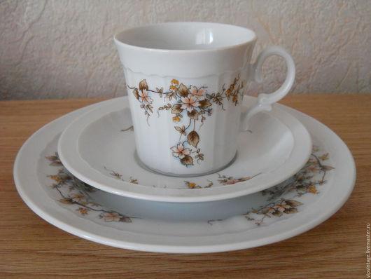 Винтажная посуда. Ярмарка Мастеров - ручная работа. Купить ESCHENBACH Bavaria-Gemany Винтажное фарфоровое чайное трио. Handmade. Комбинированный