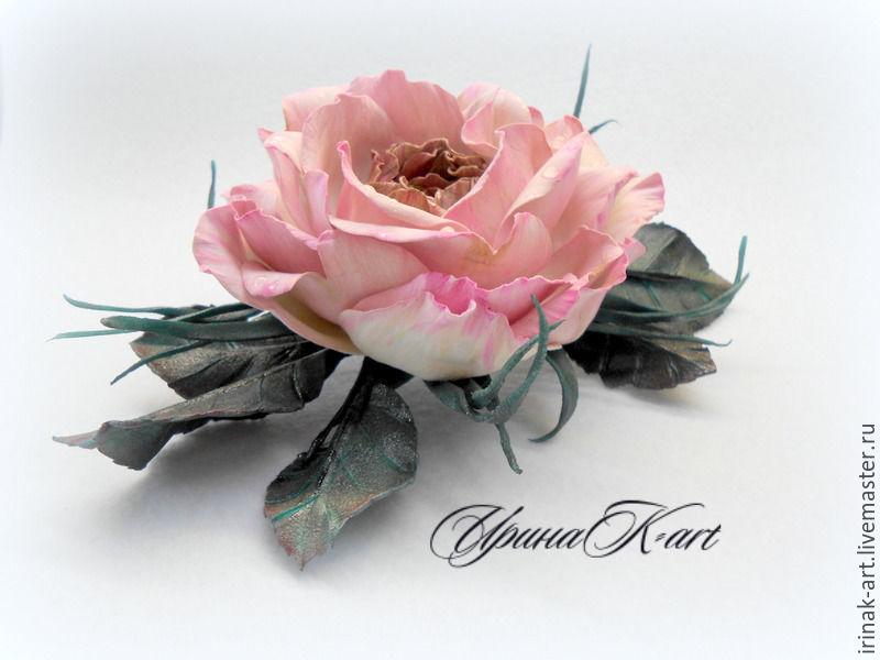 Роза Romantic rendezvous. Брошь-зажим из пластичной замши, Цветы, Жигулевск, Фото №1