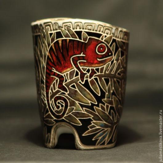 Бокалы, стаканы ручной работы. Ярмарка Мастеров - ручная работа. Купить Хамелеоны. Handmade. Комбинированный, джунгли, лес, ветки, chameleon