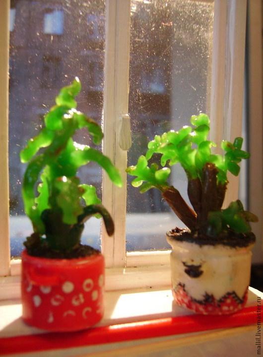Кукольный дом ручной работы. Ярмарка Мастеров - ручная работа. Купить Бабушкины цветы из полимерной глины. Handmade. Зеленый