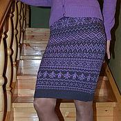 """Одежда ручной работы. Ярмарка Мастеров - ручная работа Юбка вязаная """"Сиреневые мотивы"""". Handmade."""