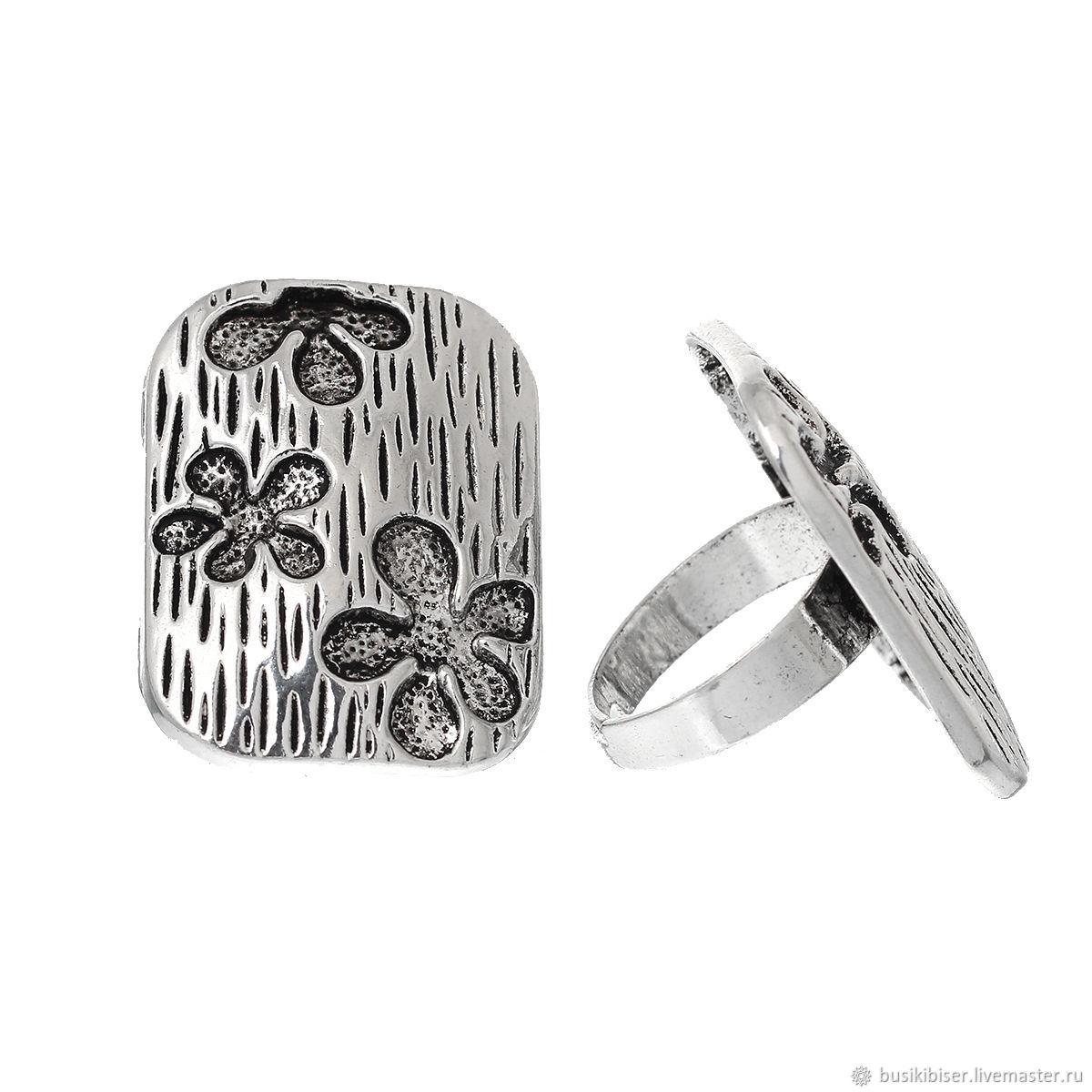 Основа для кольца прямоугольная регулируемая `Цветок` 17.5 мм.