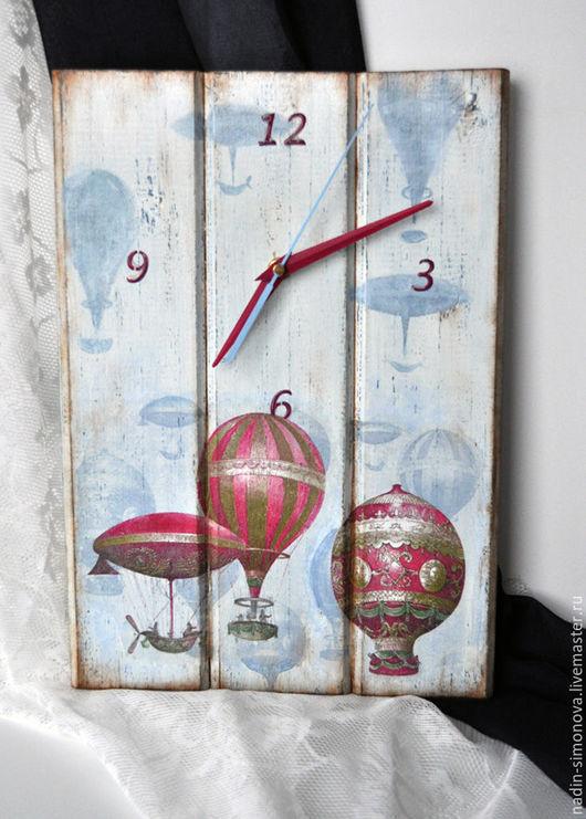 """Часы для дома ручной работы. Ярмарка Мастеров - ручная работа. Купить Часы """"Монгольфьеры. Вне времени"""". Handmade. Голубой"""