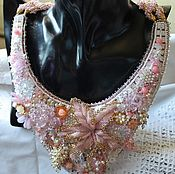 Украшения handmade. Livemaster - original item Necklace embroidered with Swarovski crystals and pink quartz Pink Orchid. Handmade.