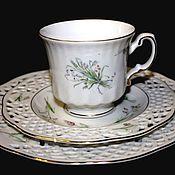 Винтаж handmade. Livemaster - original item Tea trio with butterflies, delicate porcelain. Burg Lindau, Germany. Handmade.