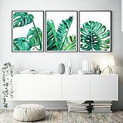 """Картины ручной работы. Ярмарка Мастеров - ручная работа Триптих """"Тропические листья"""". Handmade."""