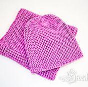 Аксессуары ручной работы. Ярмарка Мастеров - ручная работа Комплект вязаный бини снуд крупная вязка розовый. Handmade.