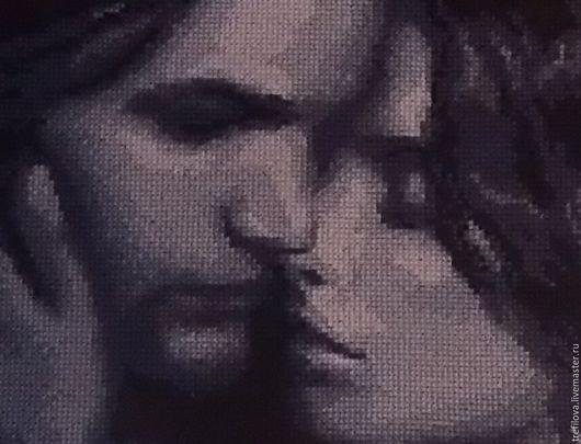 """Люди, ручной работы. Ярмарка Мастеров - ручная работа. Купить Вышитая картина """"Двое"""". Handmade. Разноцветный, поцелуй, подарок"""
