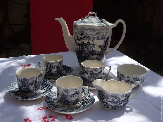 """Винтажная посуда. Ярмарка Мастеров - ручная работа. Купить кофейный сервиз """"Enchanted Garden"""" Johnson Brothers. Handmade. Синий, сахарница"""