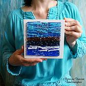 """Картины и панно ручной работы. Ярмарка Мастеров - ручная работа Панно из стекла """"Северное море. Бирюза"""", 12х12 см, фьюзинг. Handmade."""
