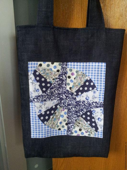 Женские сумки ручной работы. Ярмарка Мастеров - ручная работа. Купить Сумка джинсовая в стиле пэчворк. Handmade. Тёмно-синий